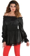 Black Peasant Blouse - Adult Standard