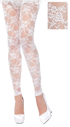 White Lace Footless Tights - Adult Standard