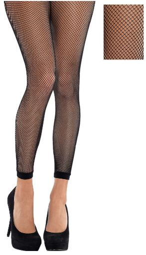 Black Fishnet Footless Tights - Adult Standard