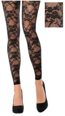 Black Lace Footless Tights - Adult Standard