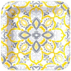 """Yellow Tile Square Lunch Plates, 9"""" - 8ct"""