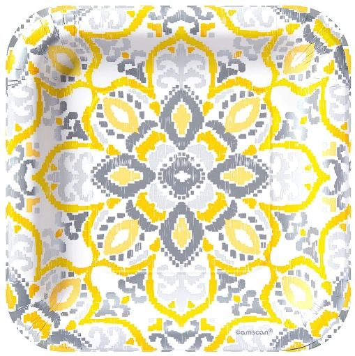 "Yellow Tile Square Lunch Plates, 9"" - 8ct"
