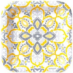"Yellow Tile Square Dessert Plates, 7"" - 8ct"