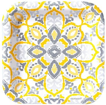 "Yellow Tile Square Dessert Plates, 7"" - 8ct"