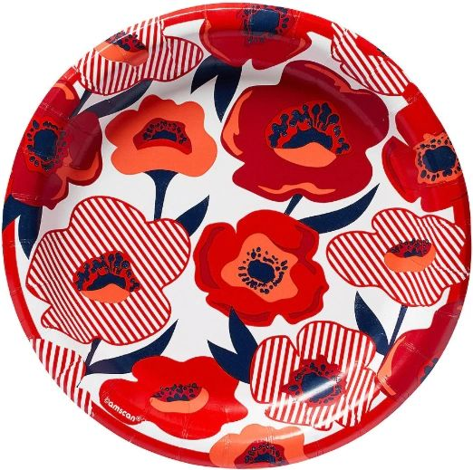 "Red Poppy Round Lunch Plates, 8 1/2"" - 8ct"