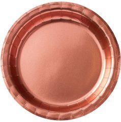 "Rose Gold Round Metallic Lunch Plates, 8 1/2"" - 8ct"
