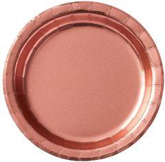 "Rose Gold Round Metallic Dessert Plates, 6 3/4"" - 8ct"