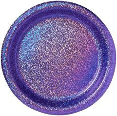 """New Purple Round Prismatic Lunch Plates, 8 1/2"""" - 8ct"""