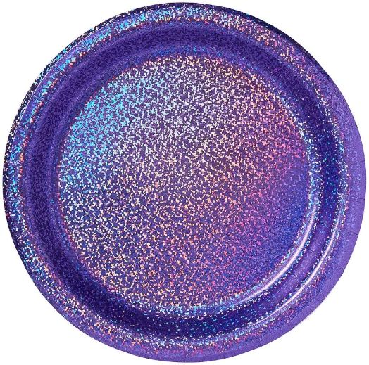 "New Purple Round Prismatic Lunch Plates, 8 1/2"" - 8ct"