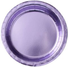 "Lavender Round Metallic Lunch Plates, 8 1/2"" - 8ct"