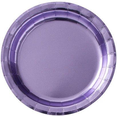 """Lavender Round Metallic Dessert Plates, 6 3/4"""" - 8ct"""