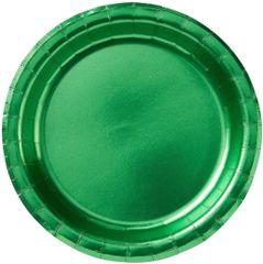 "Festive Green Round Metallic Lunch Plates, 8 1/2"" - 8ct"