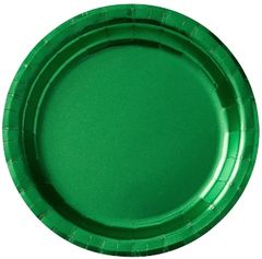"Festive Green Round Metallic Dessert Plates, 6 3/4"" - 8ct"