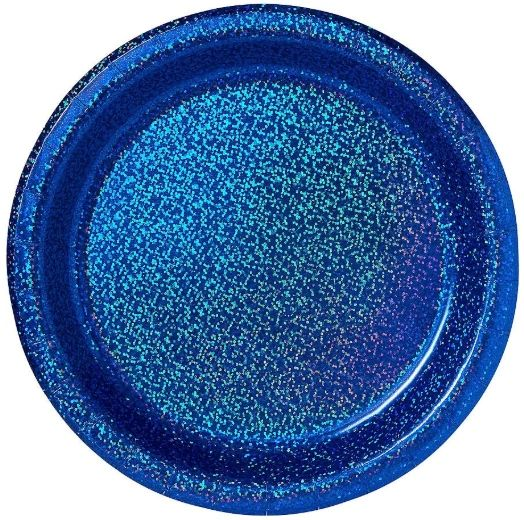 """Bright Royal Blue Round Prismatic Lunch Plates, 8 1/2"""" - 8ct"""