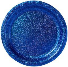 "Bright Royal Blue Round Prismatic Dessert Plates, 6 3/4"" - 8ct"