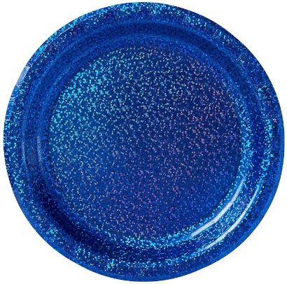 "Bright Royal Blue Round Prismatic Dessert Plates, 6 3/4"" - 8ct"