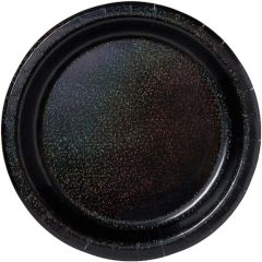 "Black Round Prismatic Lunch Plates, 8 1/2"" - 8ct"
