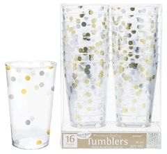 Gold/Silver Confetti Plastic Tumblers, 16oz - 16ct