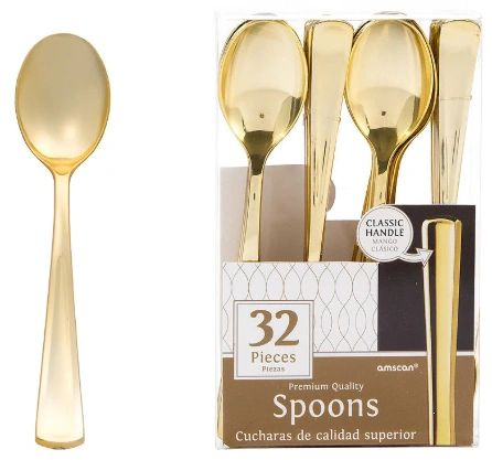 Premium Spoons - Gold, 32ct