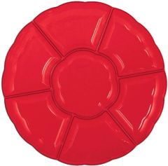 """16"""" Compartment Chip & Dip Tray - Apple Red"""