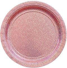 """Round Prismatic Dessert Plates - New Pink, 7"""" - 8ct"""