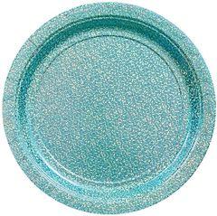 "Round Prismatic Dessert Plates - Robin's Egg Blue, 7"" - 8ct"