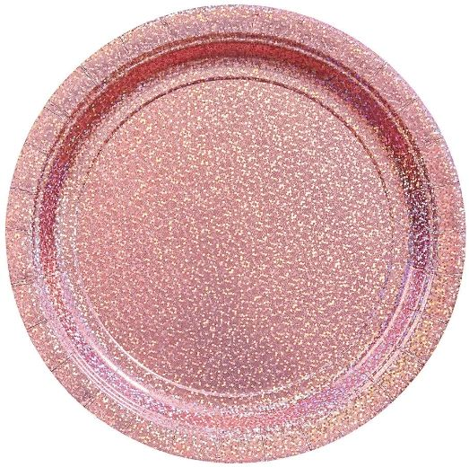 "Round Prismatic Lunch Plates - New Pink, 9"" - 8ct"