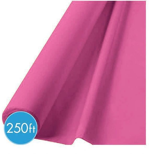 Extra-Long Bright Pink Plastic Table Cover Roll