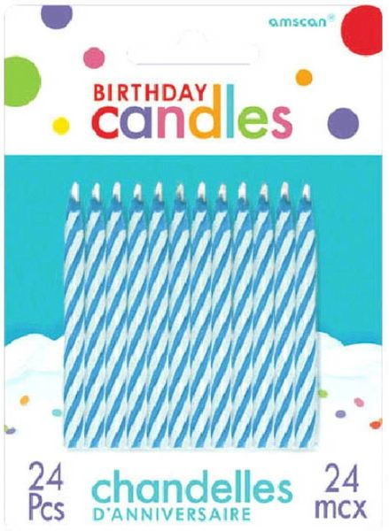Blue Candy Stripe Spiral Candles, 24ct