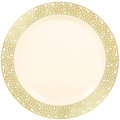 "Cream w/Gold Lace Border, Premium Plastic Lunch Plates, 7 1/2"" - 20ct"
