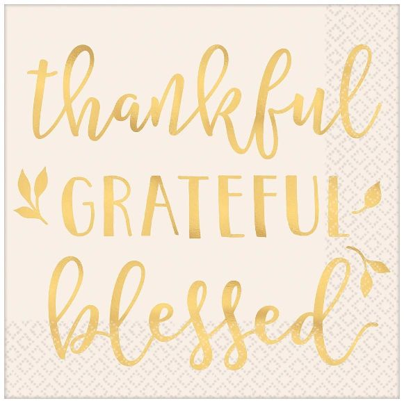 Thankful, Grateful, Blessed Luncheon Napkins, 16ct