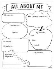 Back To School All About Me Activity Sheets, 30ct