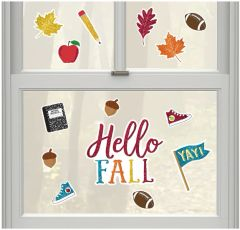 Back To School Glitter Window Decorations, 16pc