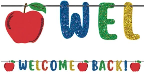 Welcome Back Ribbon Banner w/ Glitter Paper Letters, 12ft