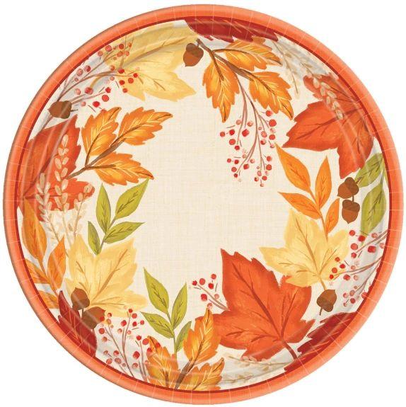 "Fall Foliage Round Dinner Plates, 10 1/2"" - 8ct"