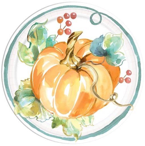 """Muted Autumn Round Dessert Plates, 7"""" - 8ct"""