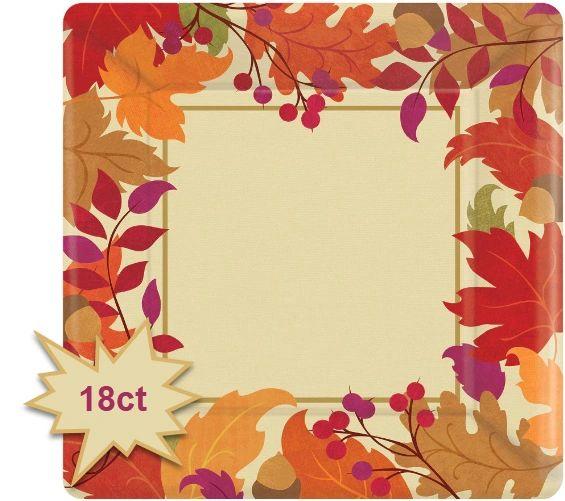 "Festive Fall Square Dessert Plates, 7"" - 18ct"