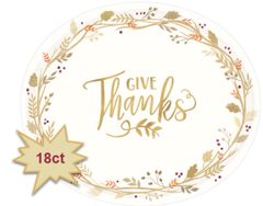 "Always Be Thankful Oval Plates, 12"" - 18ct"