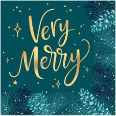Very Merry Teal Luncheon Napkins, Hot-Stamped, 16ct