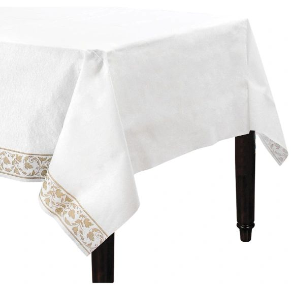 """White with Gold Trim Premium Quality Table Cover 54"""" x 102"""""""
