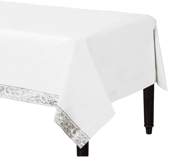 """White with Silver Trim Premium Quality Table Cover 54"""" x 102"""""""