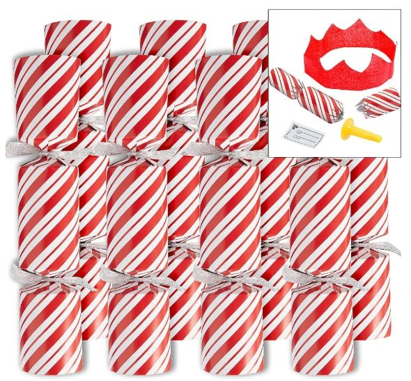 Candy Cane Crackers - Red & White, 8ct
