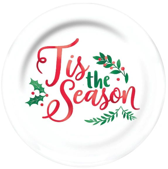 """Tis the Season Coupe Plate, Hot-Stamped 10 1/2"""" - 10ct"""