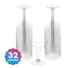 Big Party Pack Clear Plastic Champagne Glasses, 4oz - 32ct