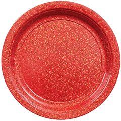 "Round Prismatic Dessert Plates - Apple Red, 7"" - 8ct"