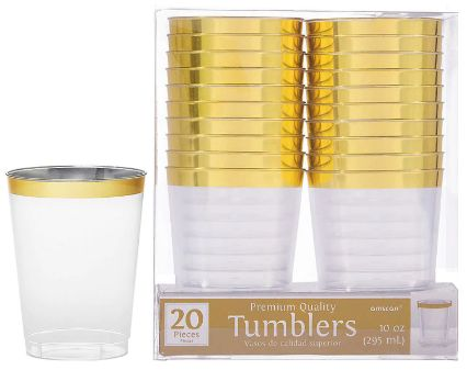 Gold Trim Tumbler, 10oz - 20ct