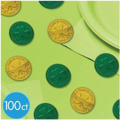 Green & Gold Coin Plastic Table Sprinkles