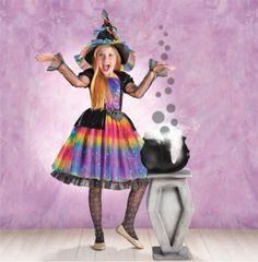 Rainbow Witch - Girl Toddler (3-4), Girl Small (4-6), Girl Medium (8-10), Girl Large (12-14)
