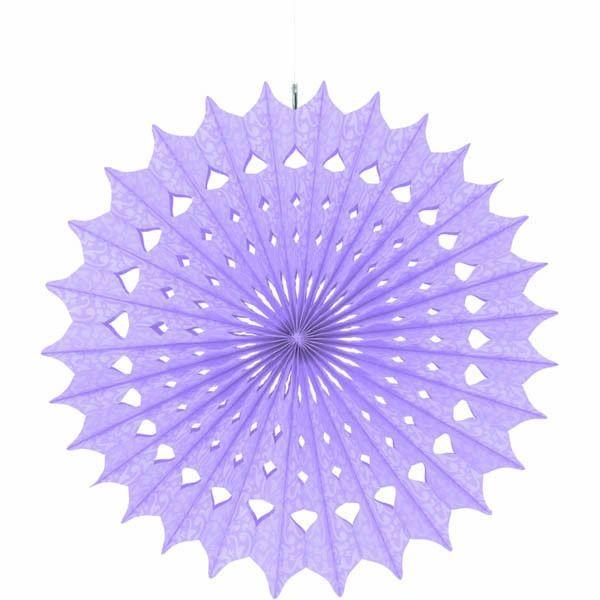 "Lilac Damask Fan Decoration, 16"""