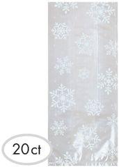 Large White Snowflake Cello Party Bags, 20ct